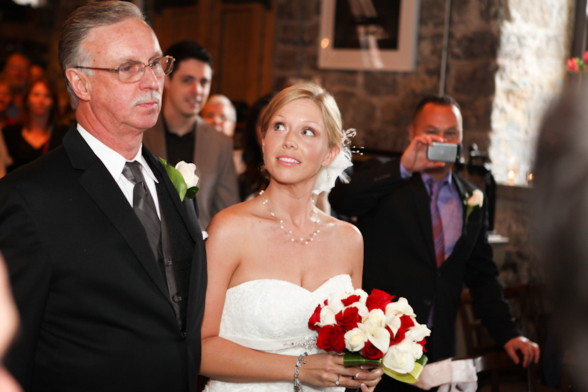 bride looking at dad
