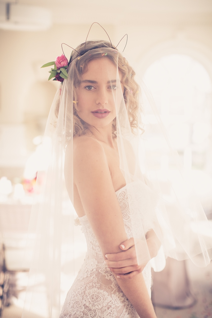 bride with the veil shot