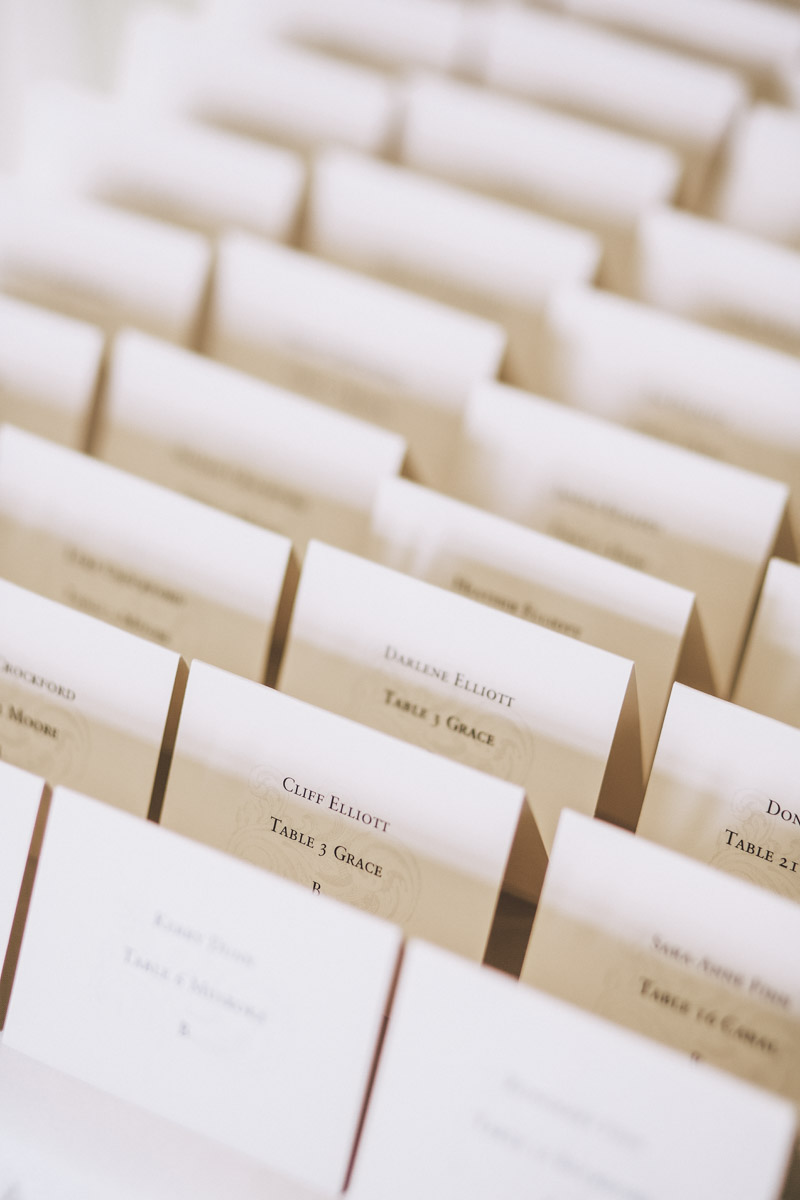 wedding reception placement cards