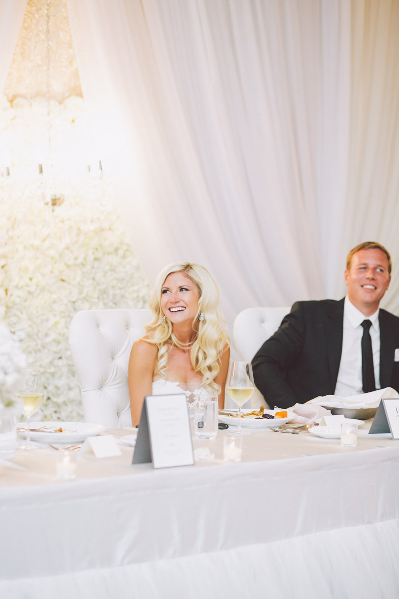 bride and groom head table
