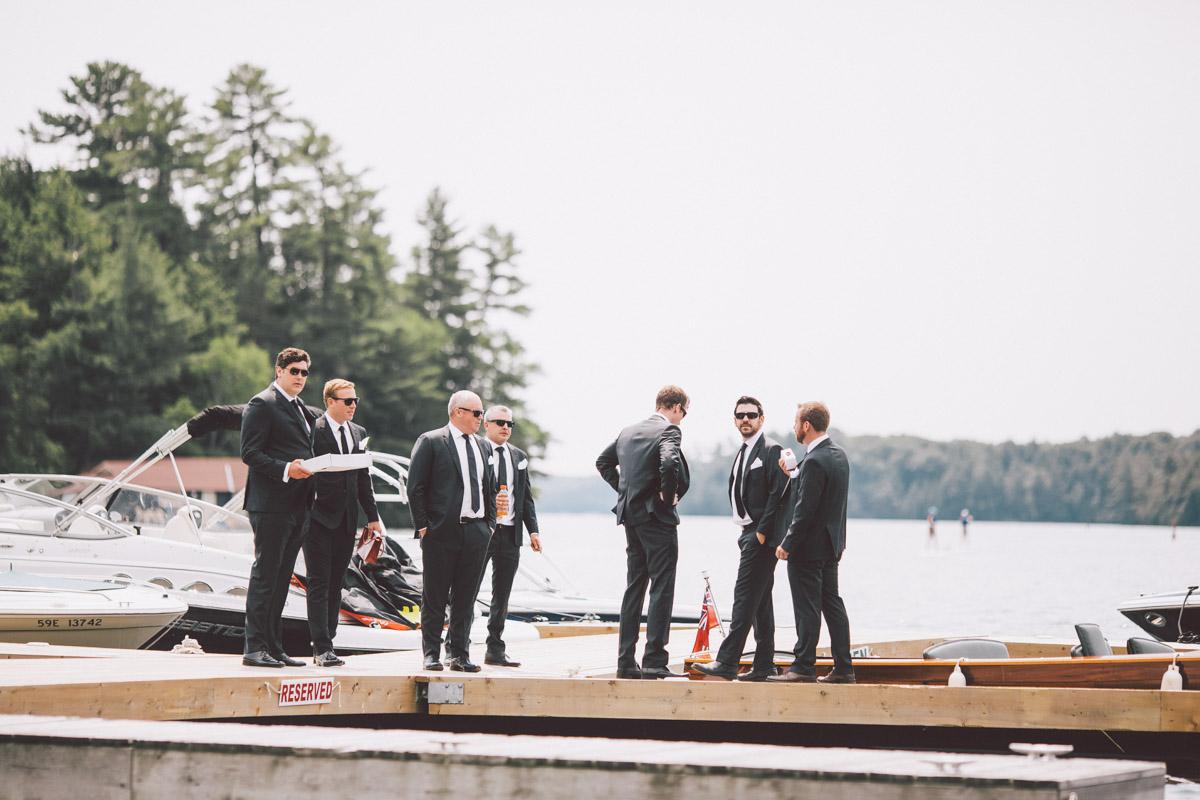 groomsmen on muskoka dock