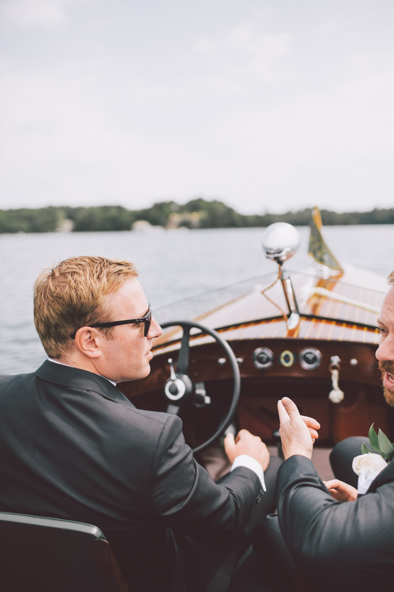 taking the boat ride to the ceremony