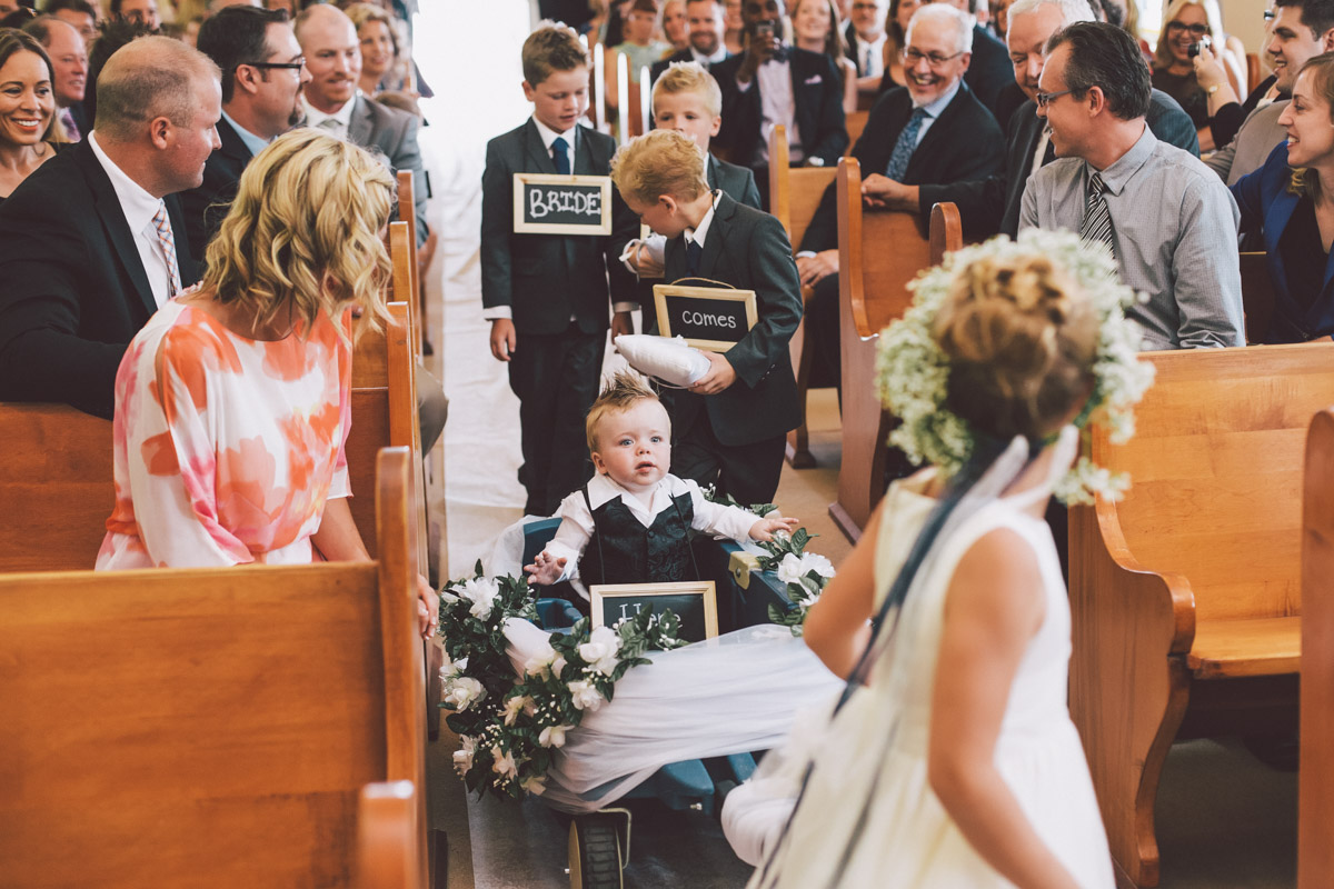 kids enter the church