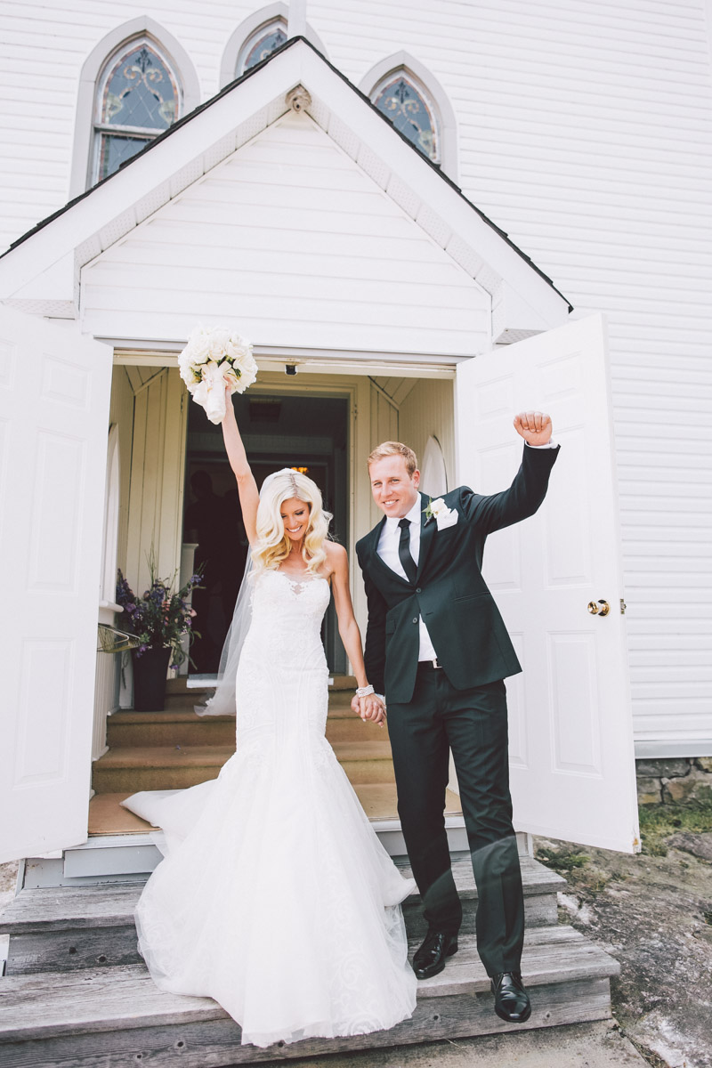 classic newlywed shot in front of the church