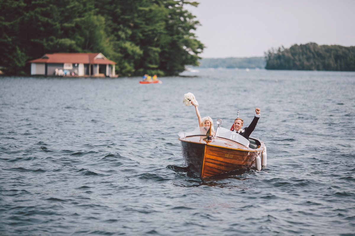 newlyweds in the boat
