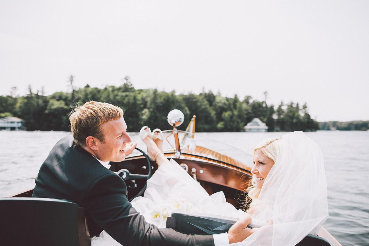 wedding boat ride muskoka