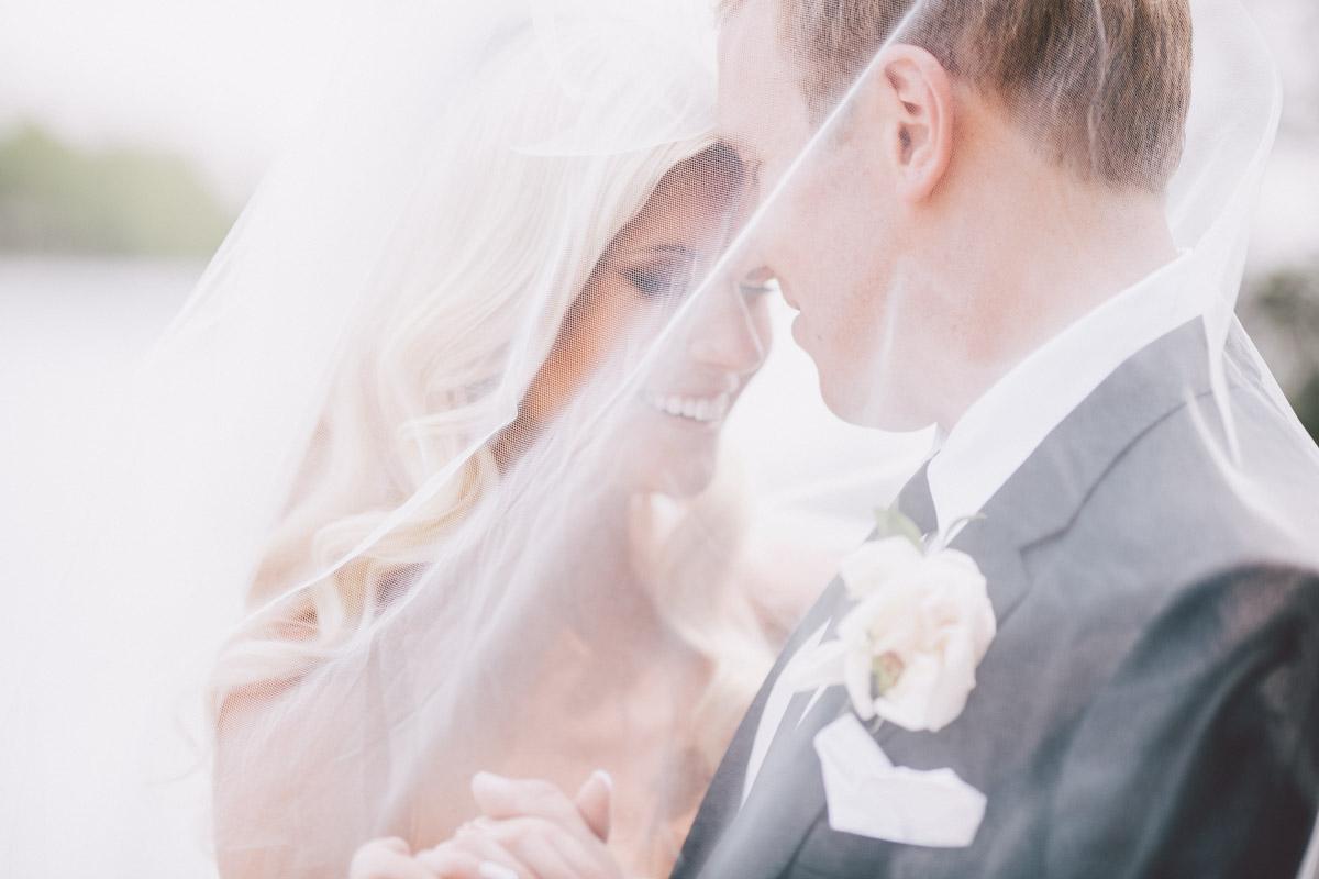 under the veil wedding photo
