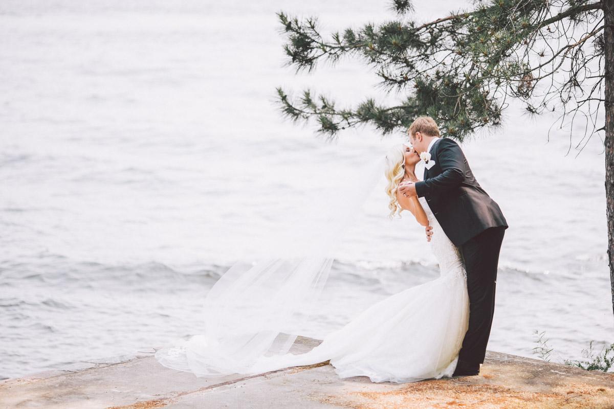 bride and groom dip shot
