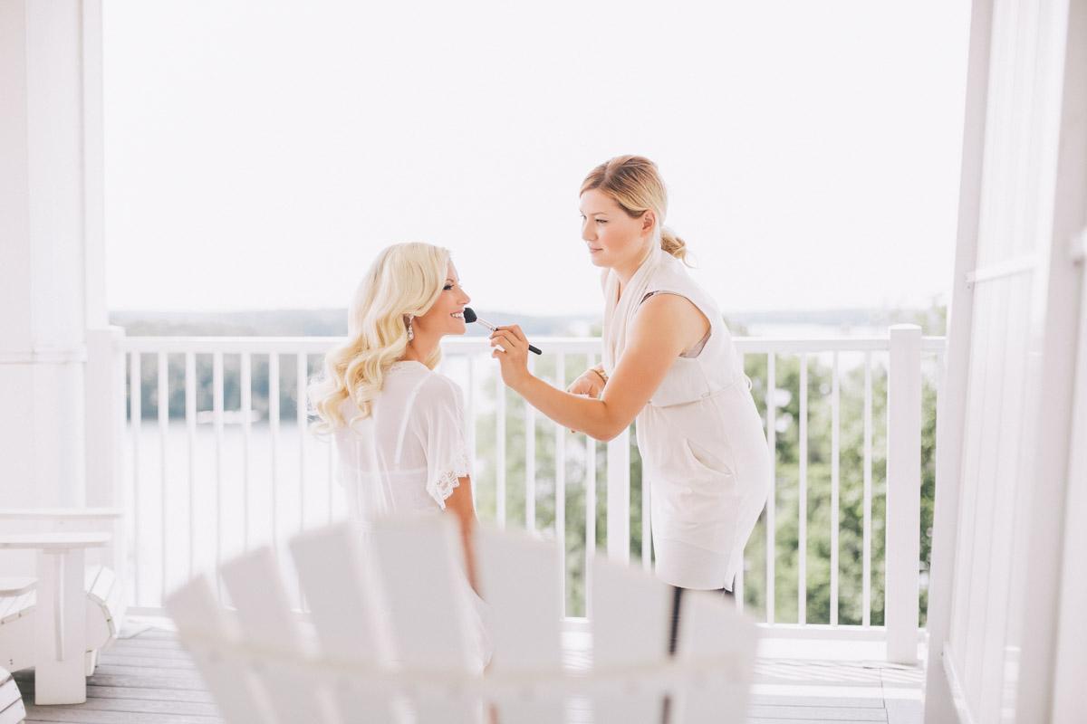bride on muskoka chair