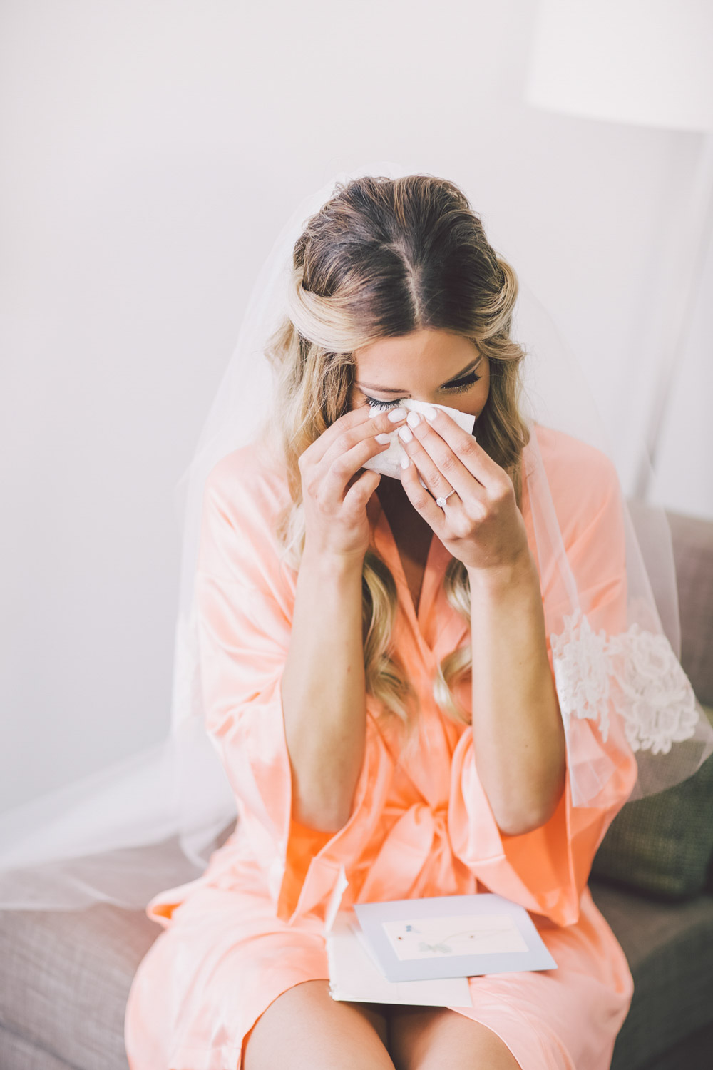 bride crying in the morning