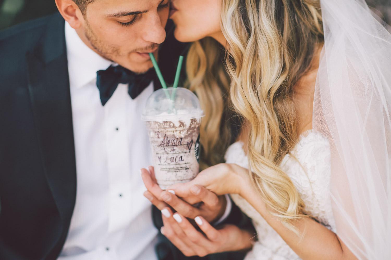 couple sharing Starbucks