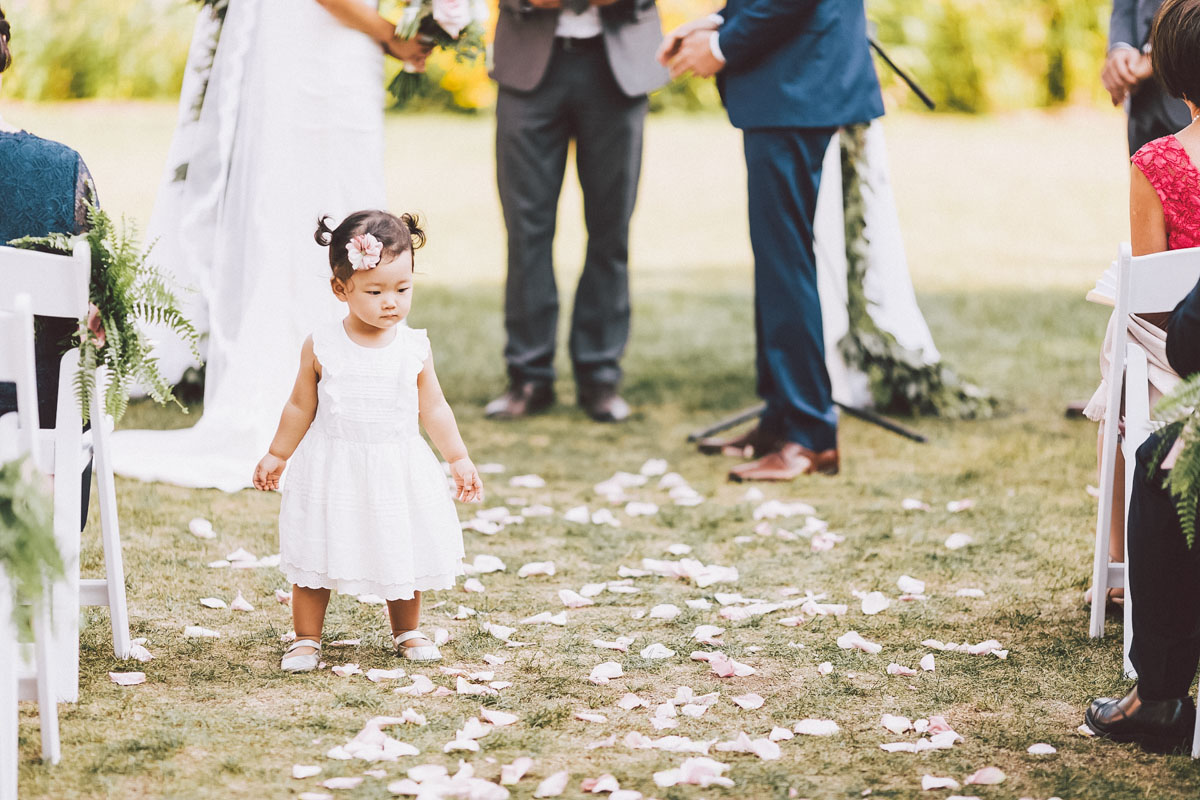 flower girl at the wedding ceremony