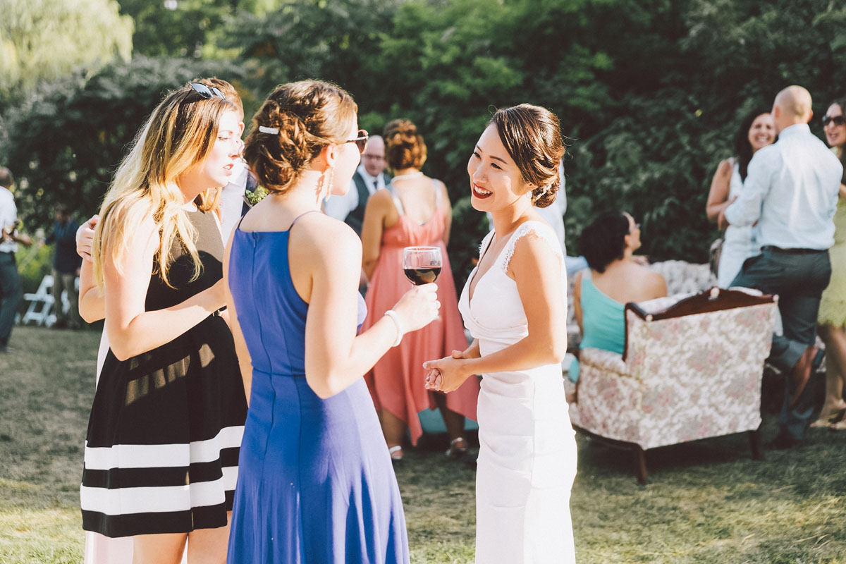 bride mingling at reception