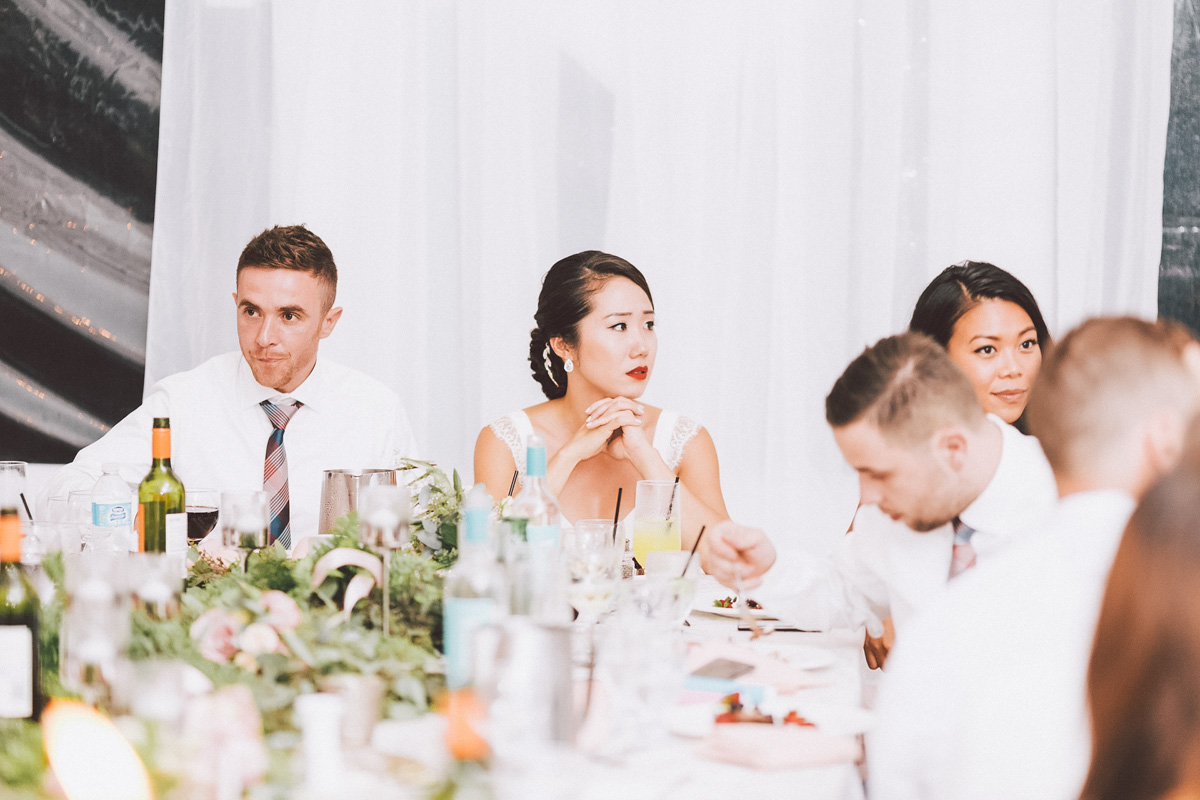 bride and groom at the head table