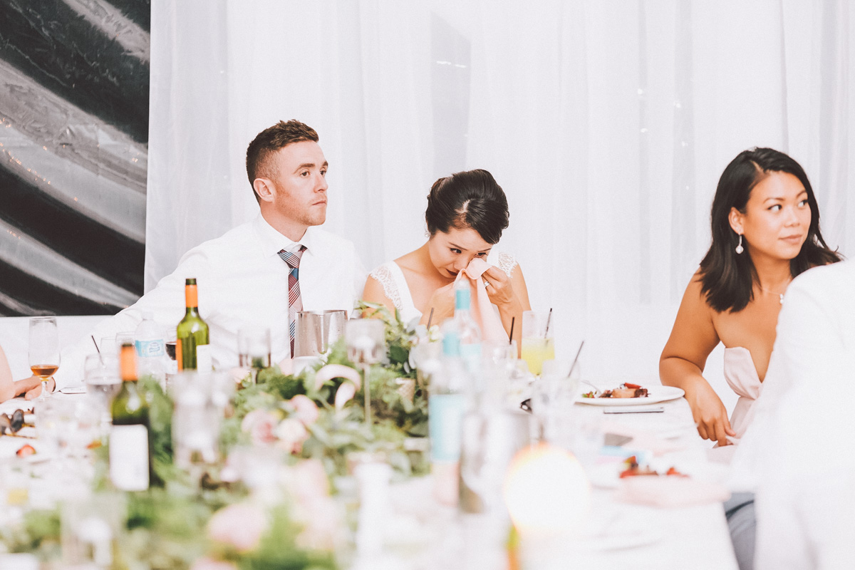 Bride crying to mom's speech