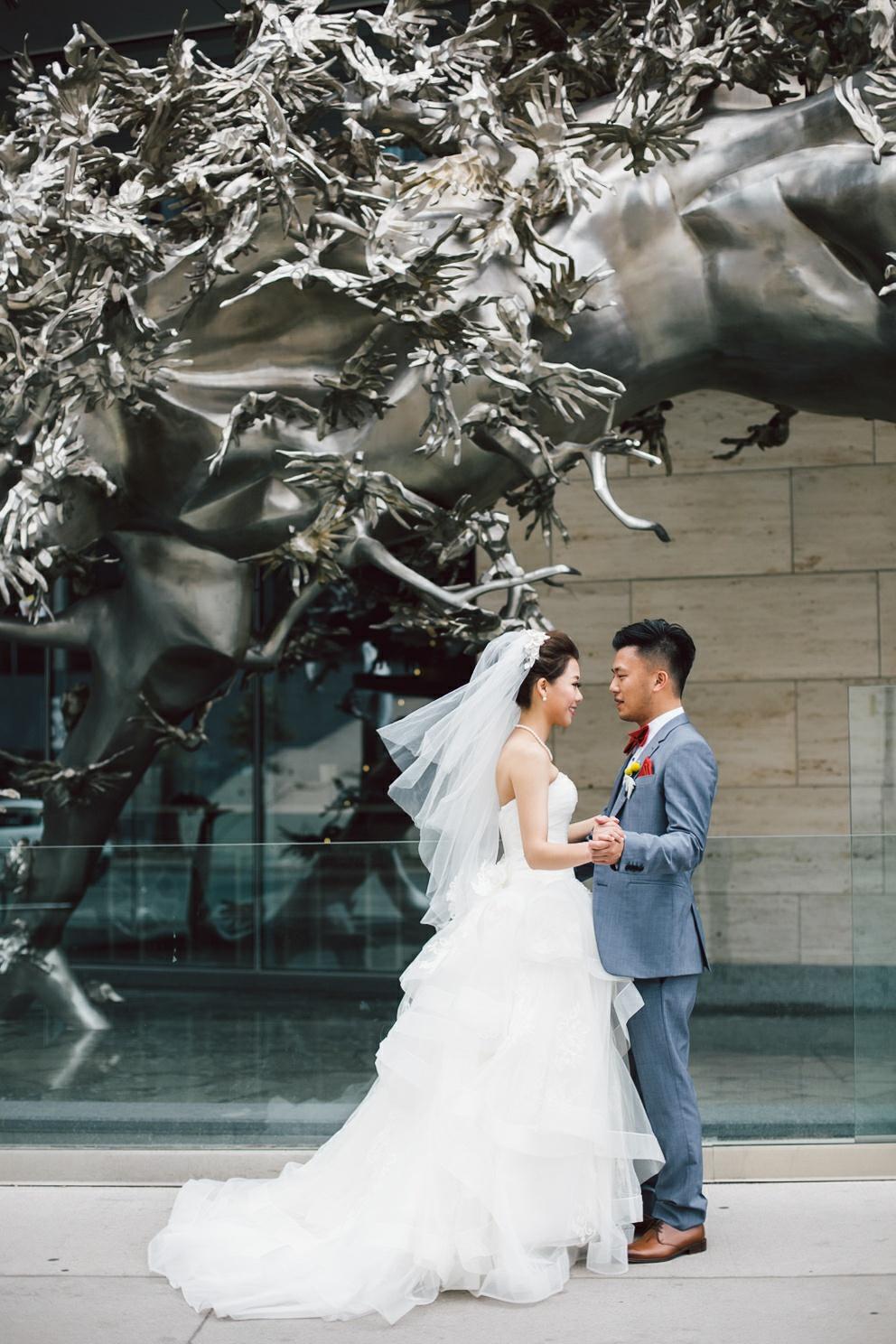 bride and groom dancing toronto downtown