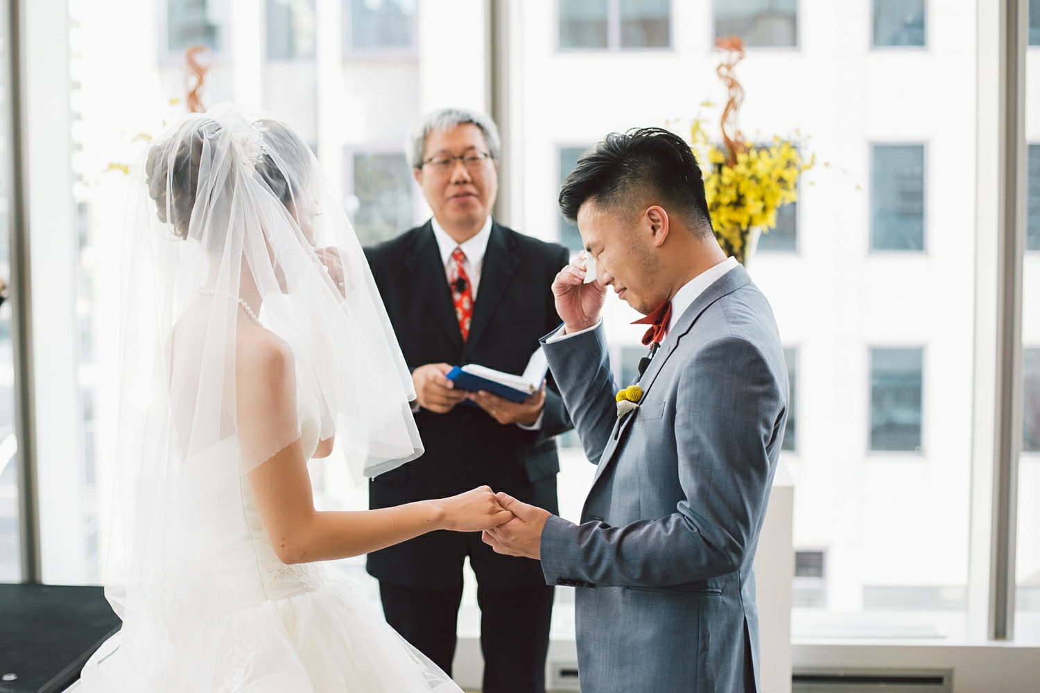 groom crying at the wedding ceremony