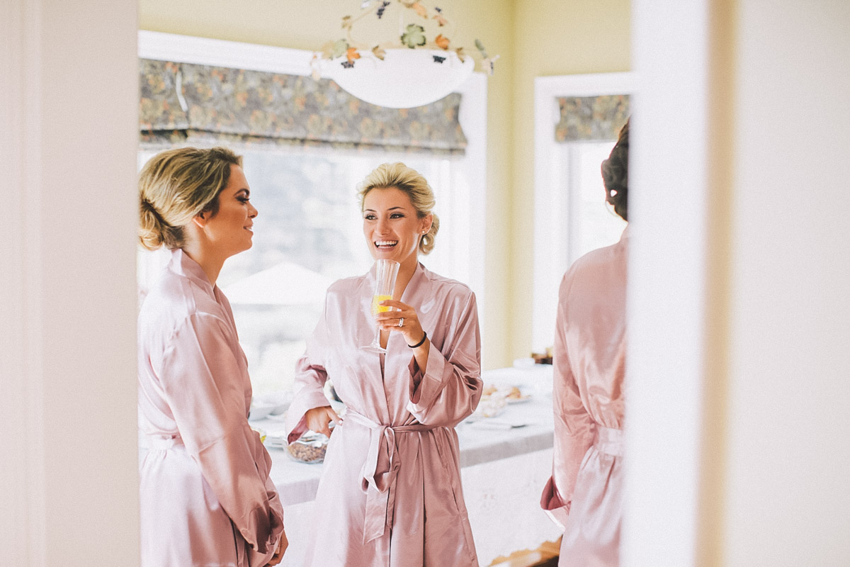 bridesmaids in the same robe