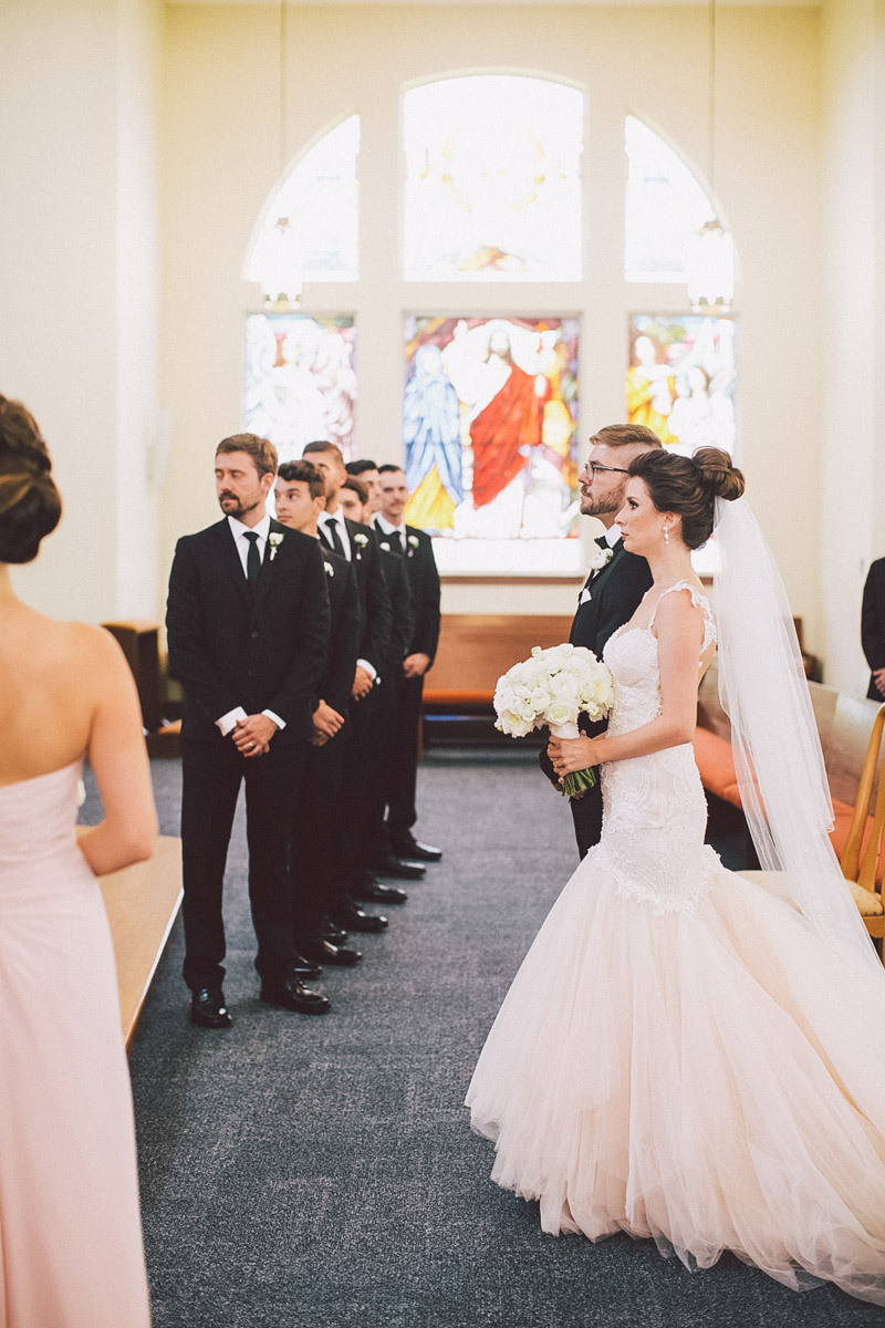 bride and groom ceremony at the church