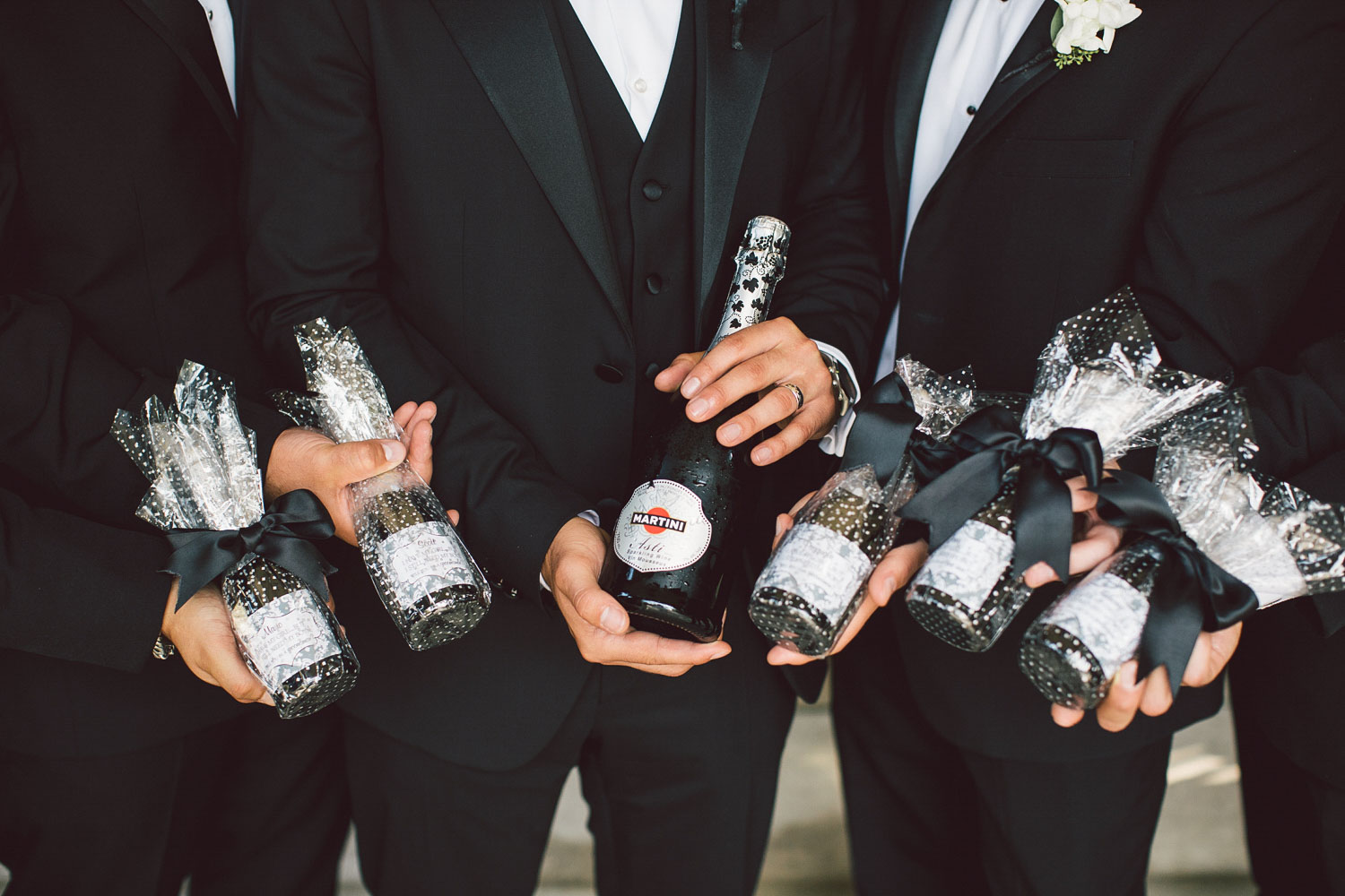 groomsmen with champagne