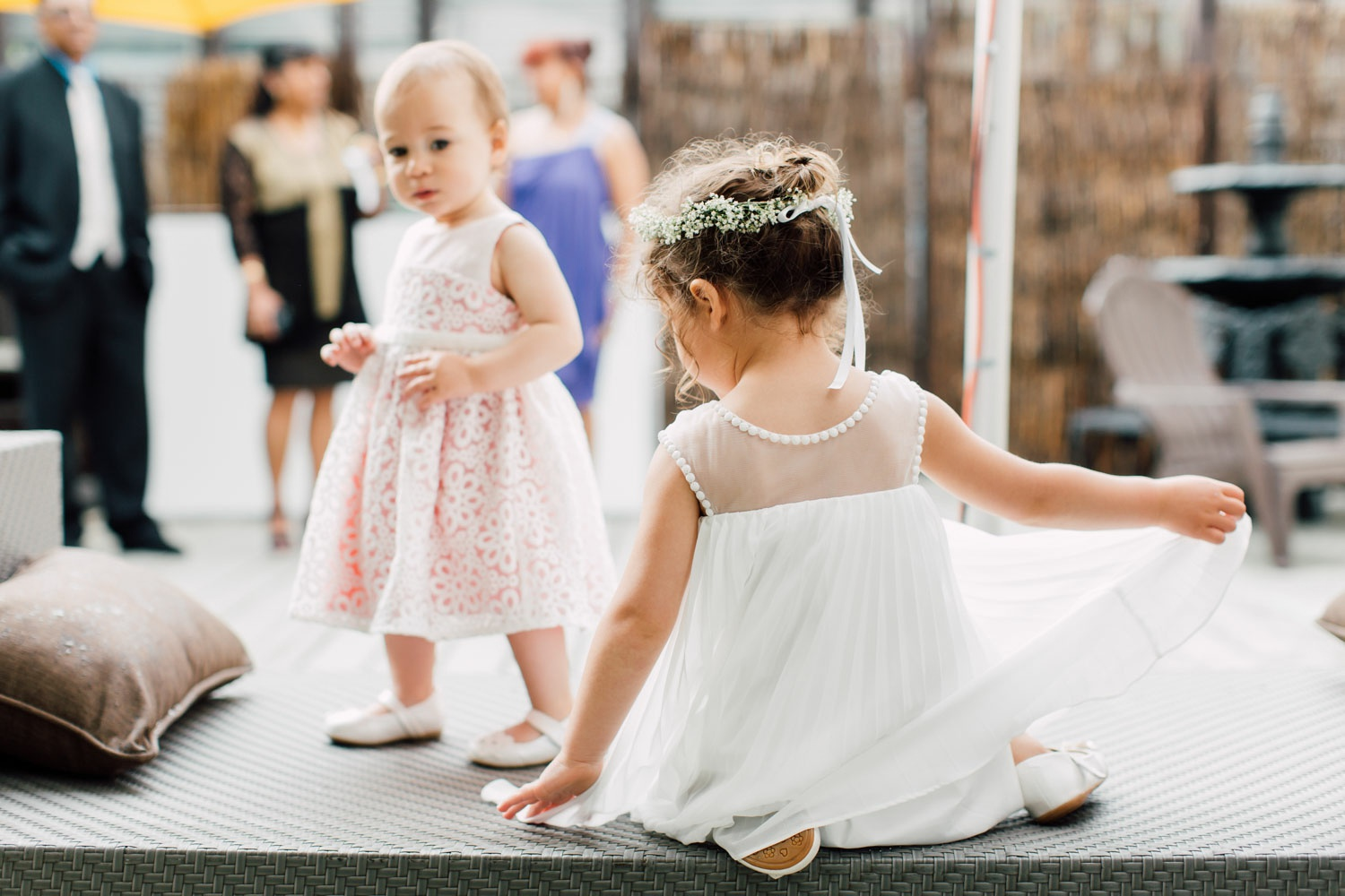 flower girls playing at the reception