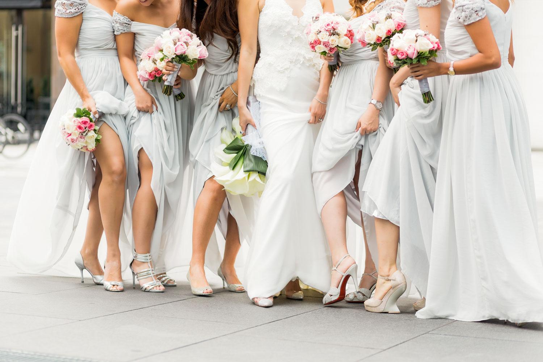 bridesmaids showing legs