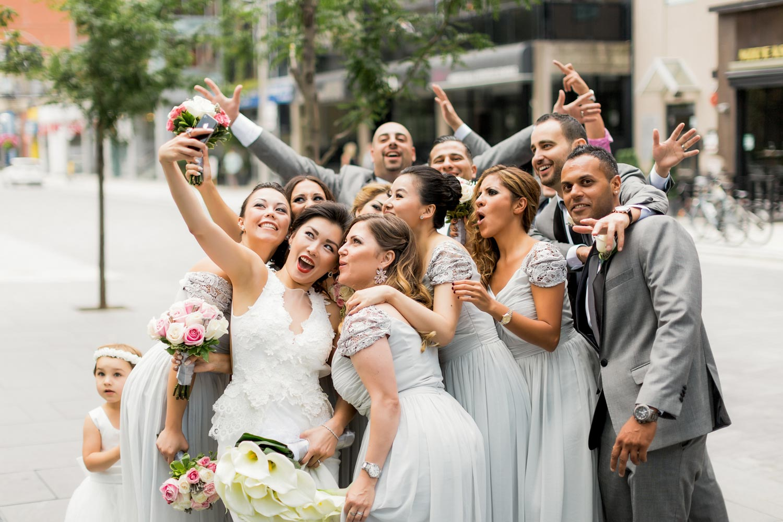 bridal party taking a selfy