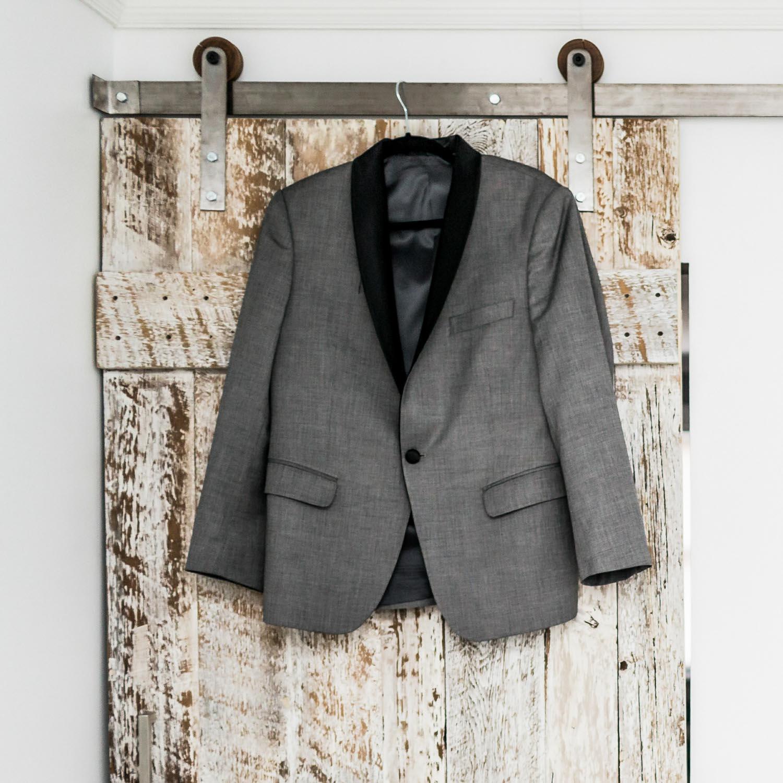gray tuxedo and black bowtie