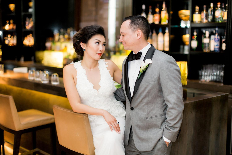 bride and groom at four season bar