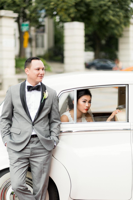 posing around limousine