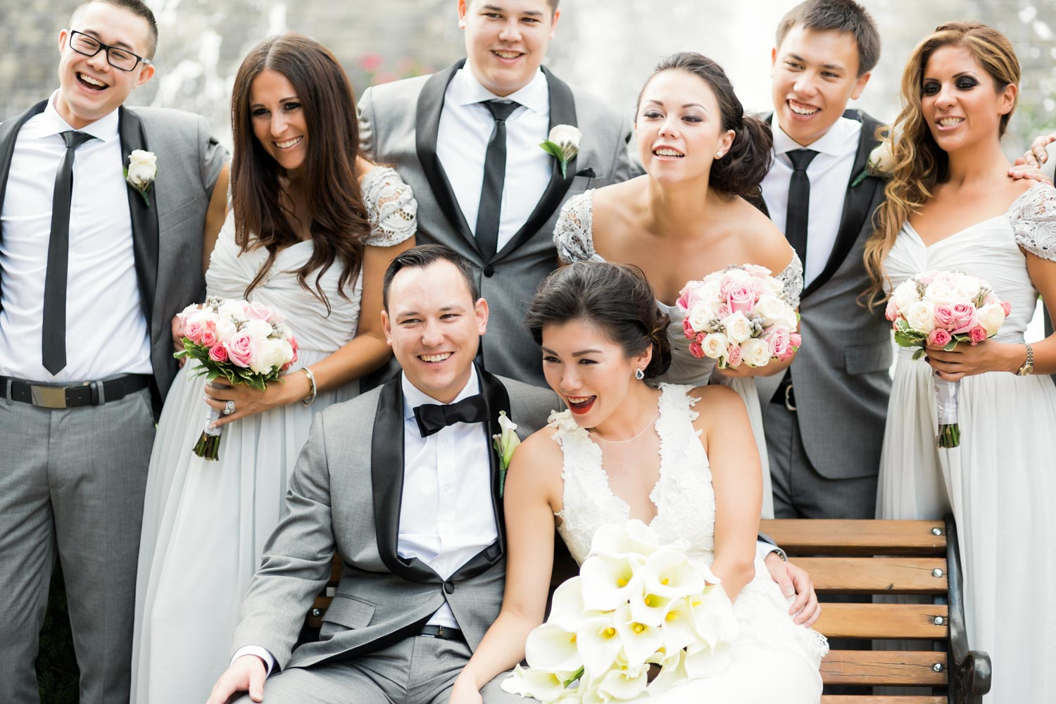 bride and groom and a bridal party