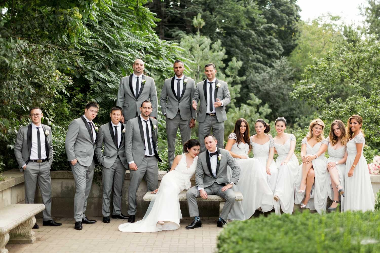 bridal party at casa loma garden