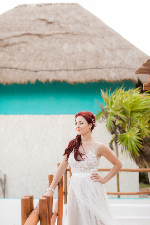 nadia posing on the beach