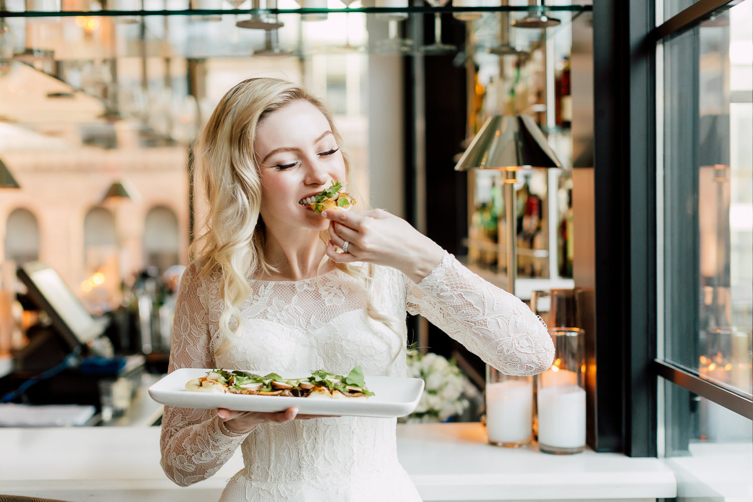 bride eating pizza
