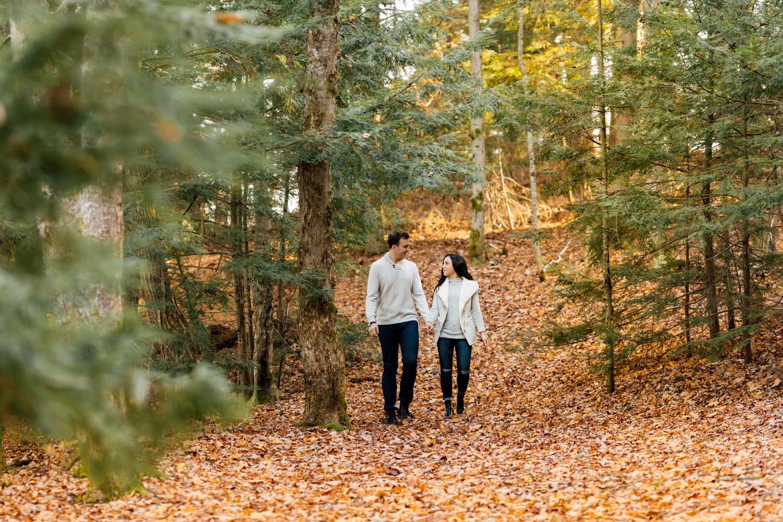 couple fall walk