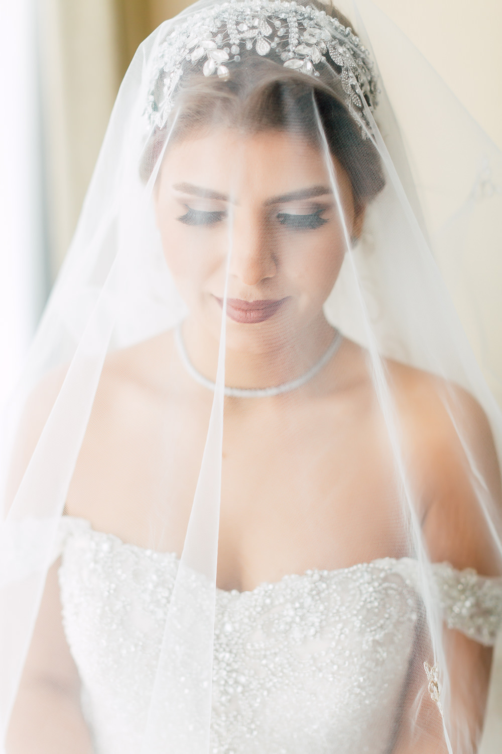 morning bridal portrait