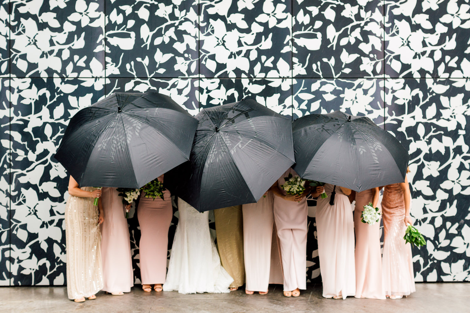 rainy bridesmaids portrait