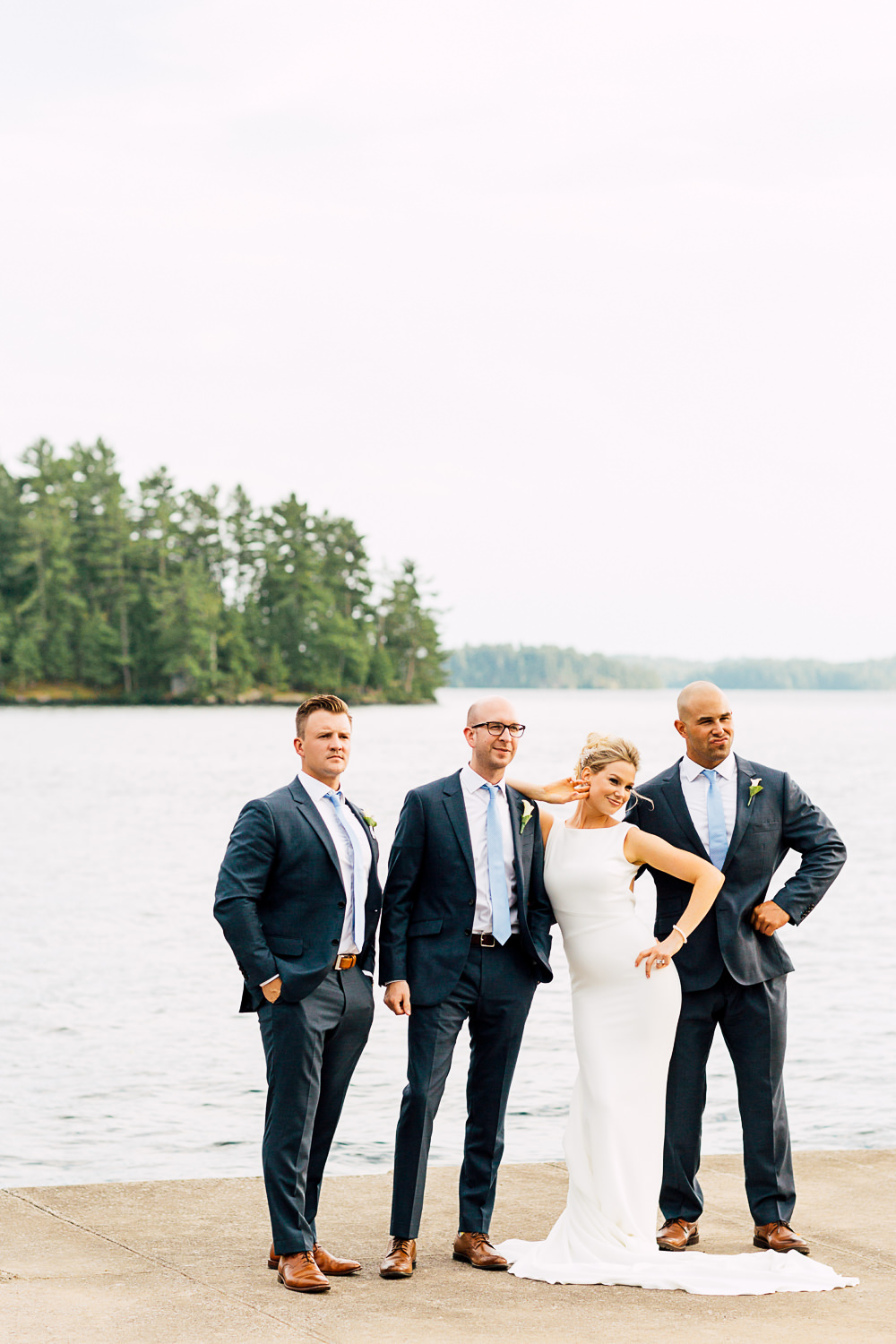 bride and groomsmen muskoka