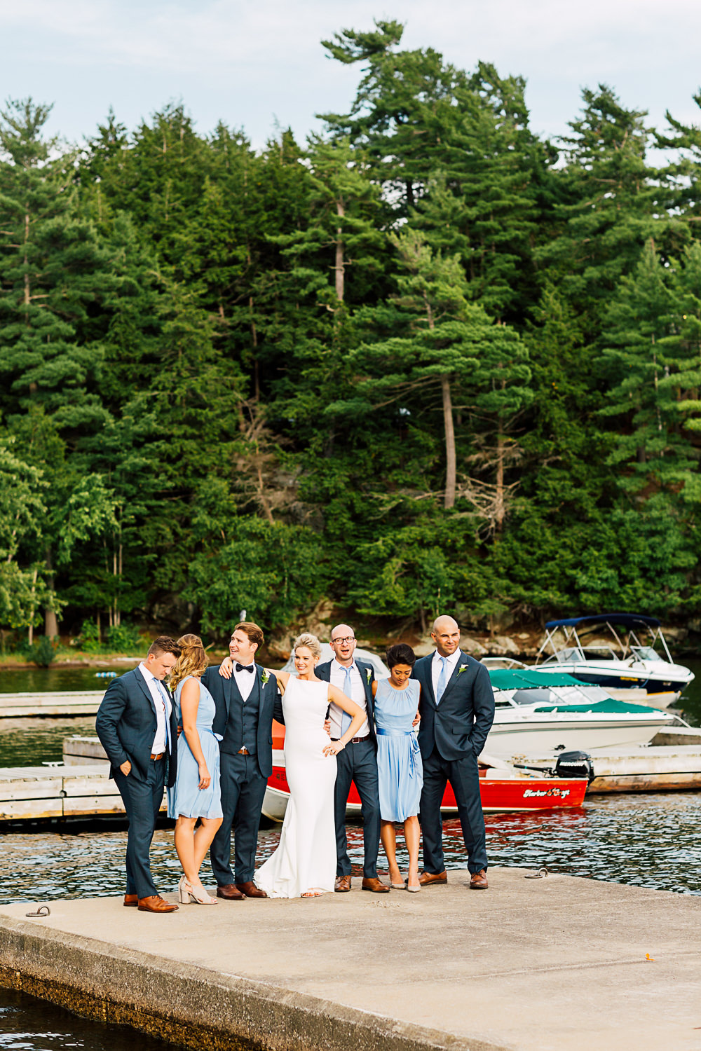 bridal party muskoka lake wedding