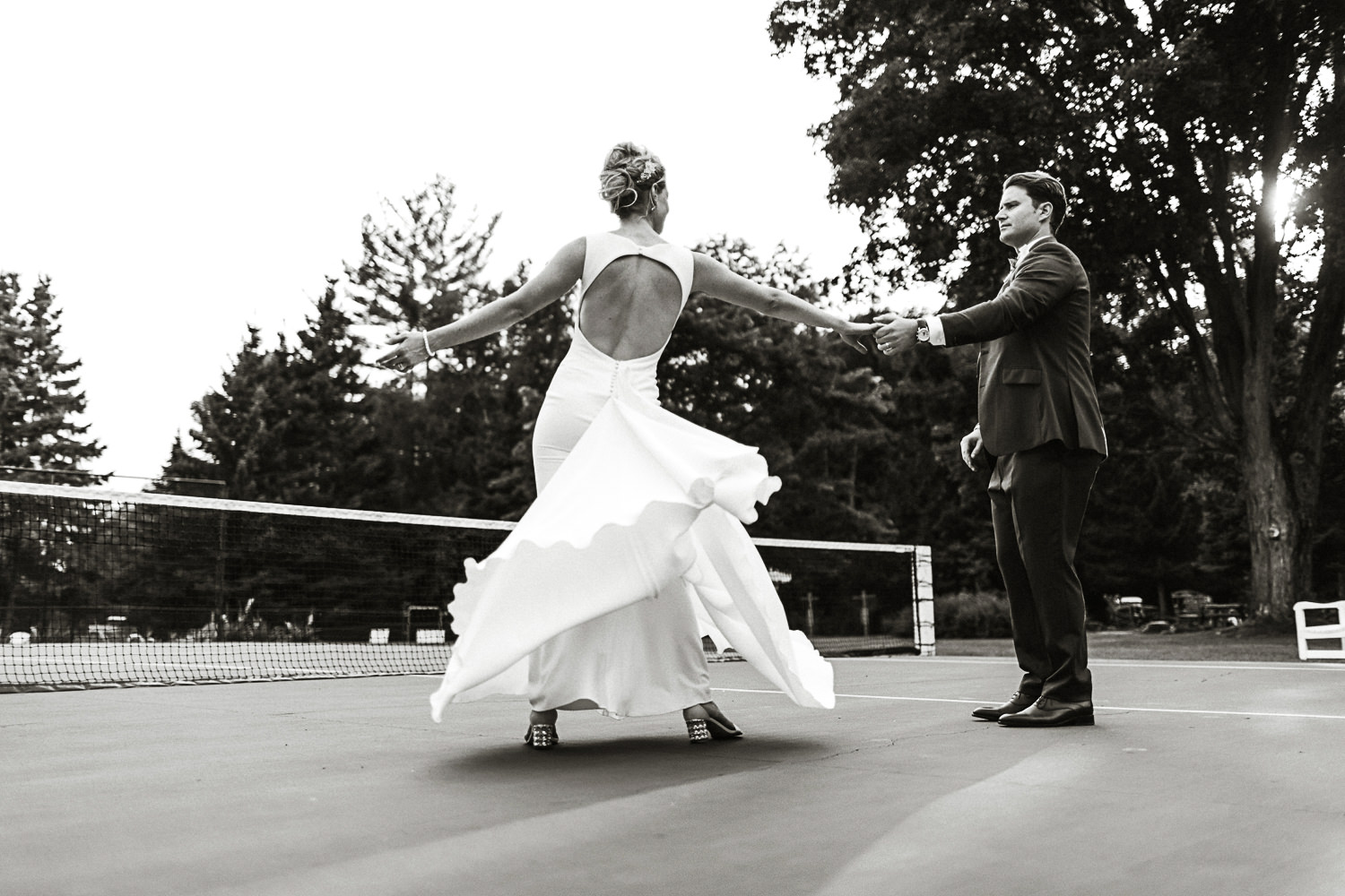 tennis court wedding portrait