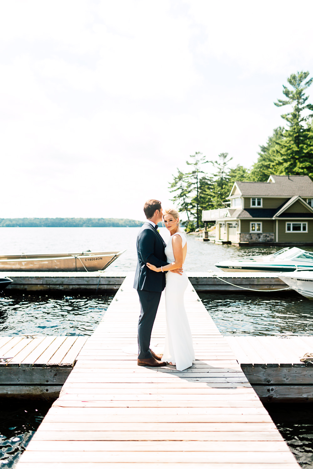lakeside wedding portrait