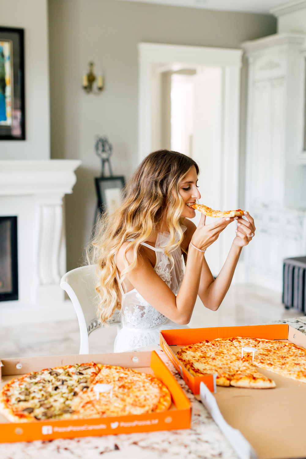 bride and pizza