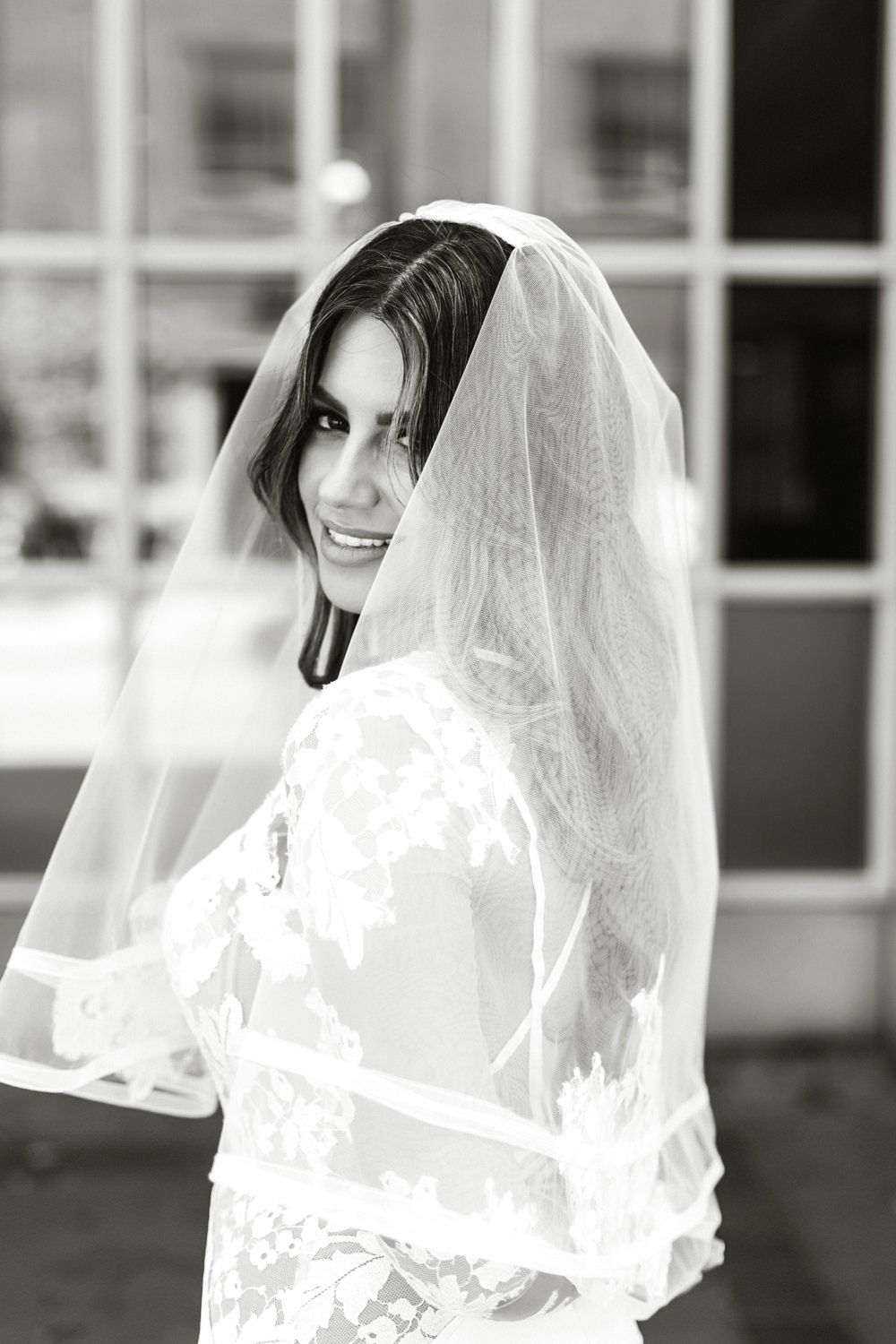 wedding veil portrait
