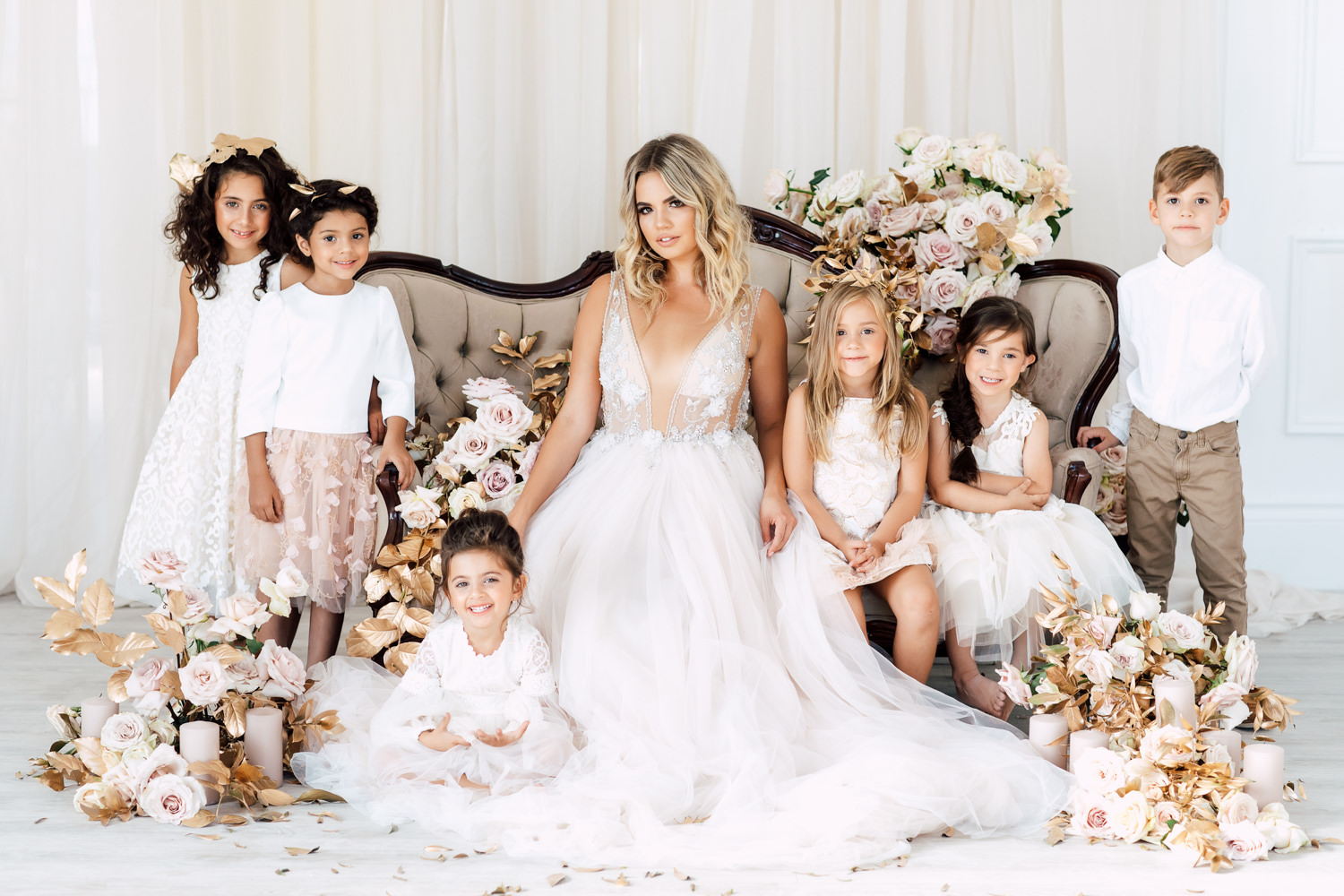 kate moss bridal party
