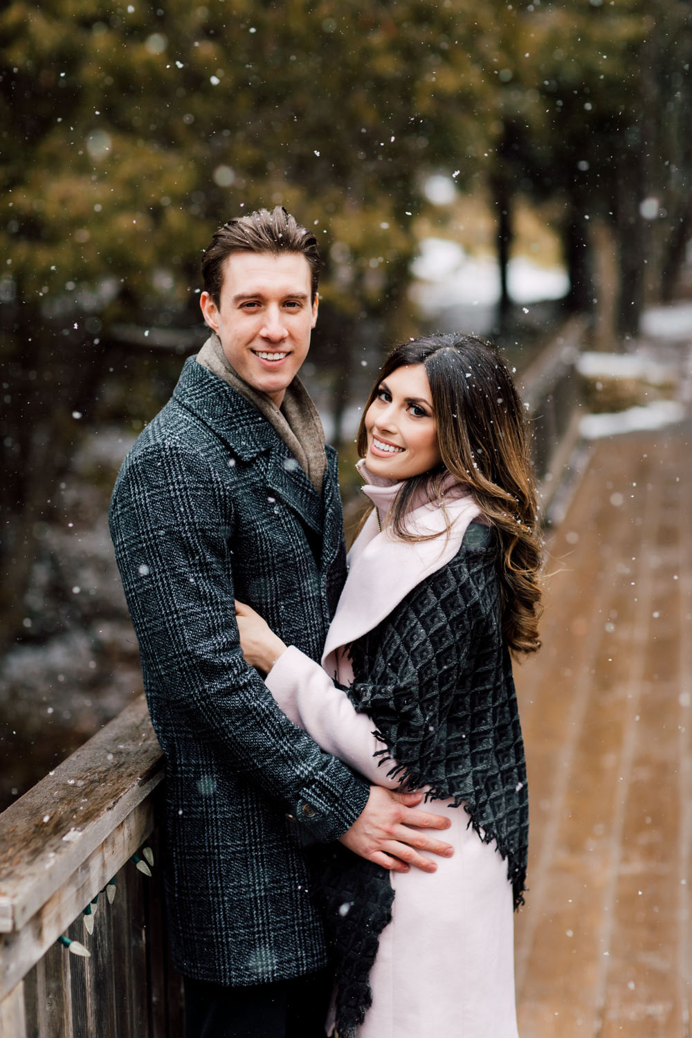 snowfall engagement shoot