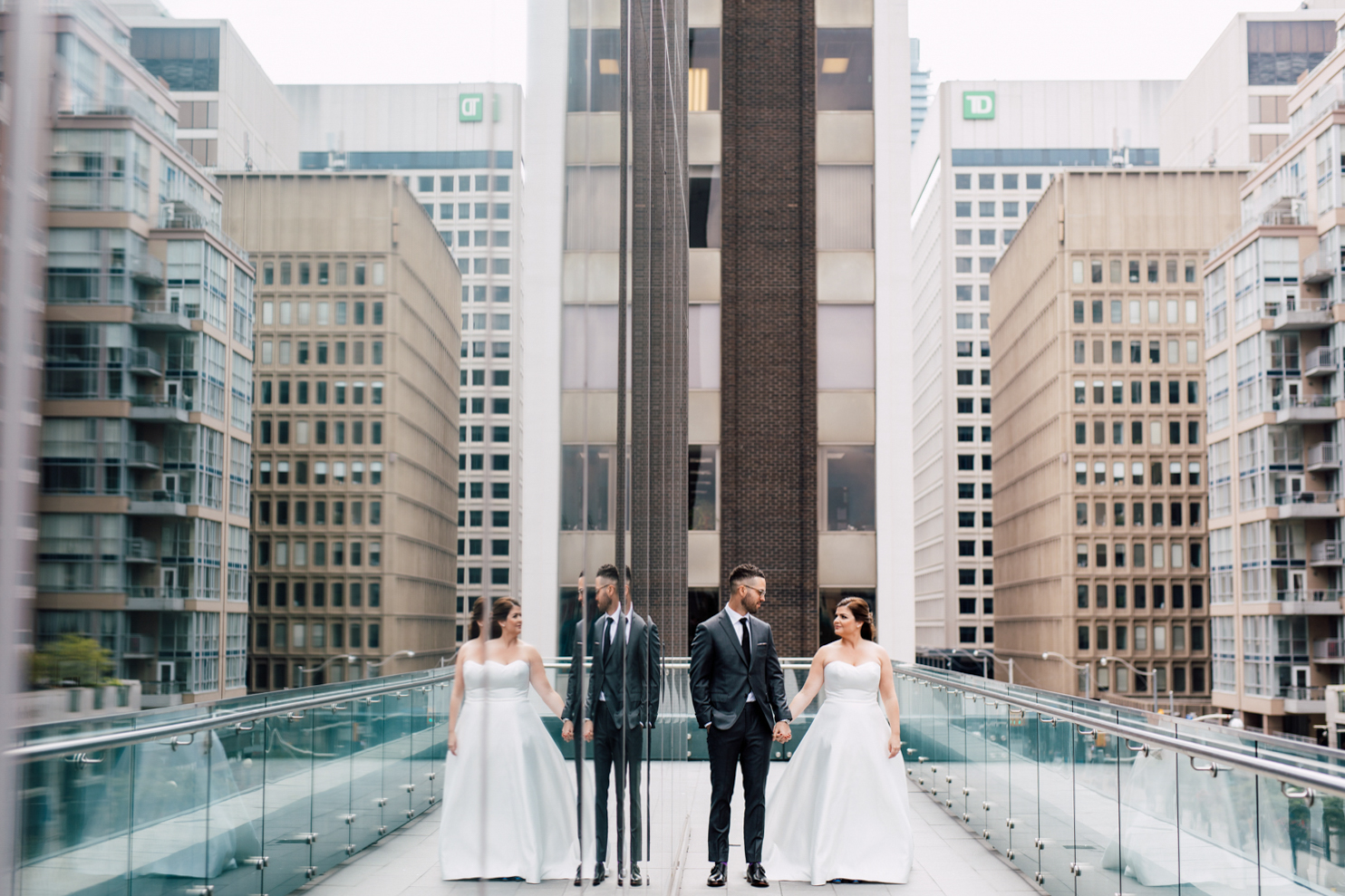 urban wedding portrait