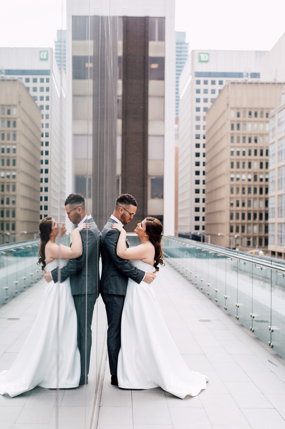 downtown wedding portrait