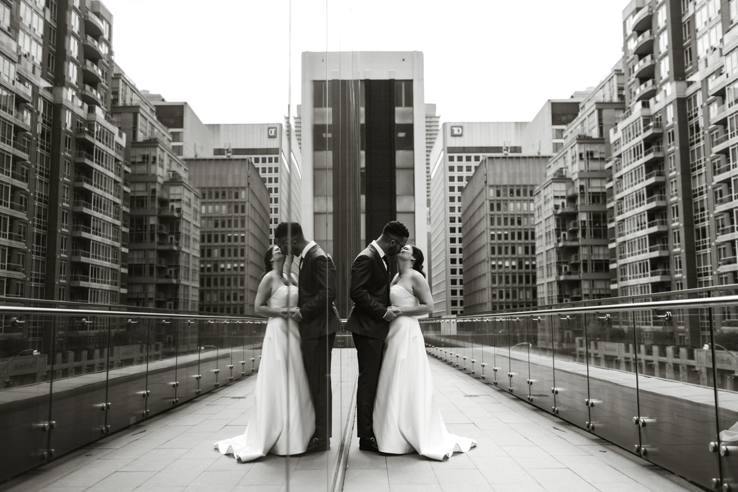downtown wedding portrait