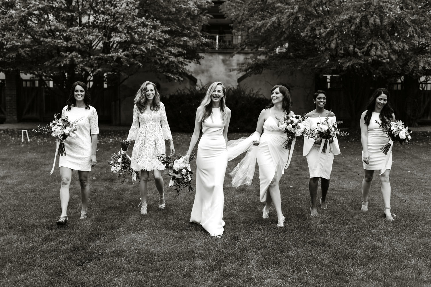 bridesmaids white dresses
