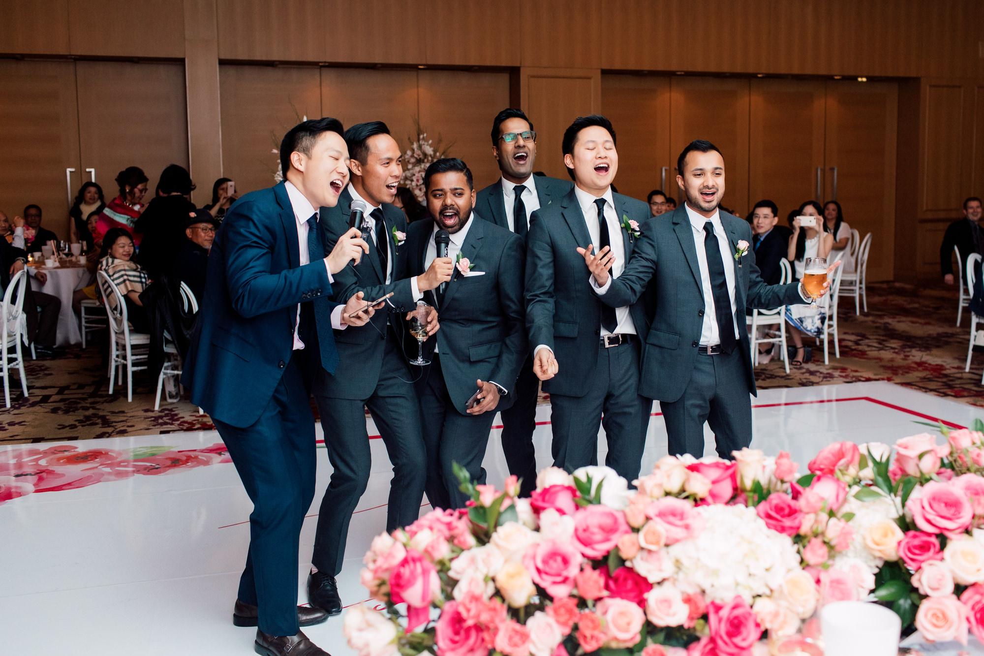 groomsmen singing